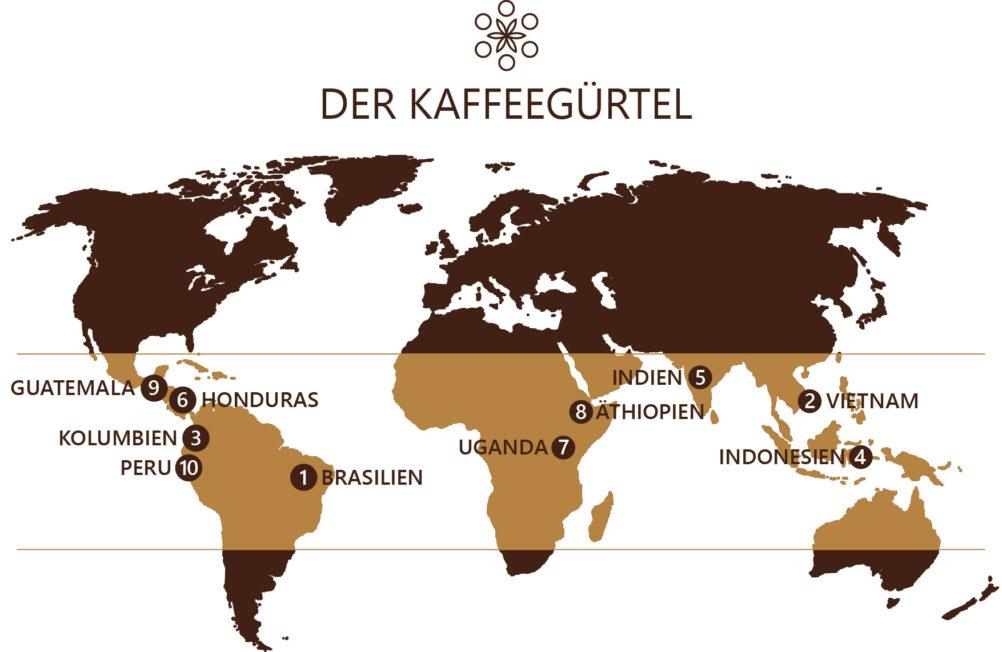 Der Kaffeegürtel - weltweiten Kaffeeanbaugebiete